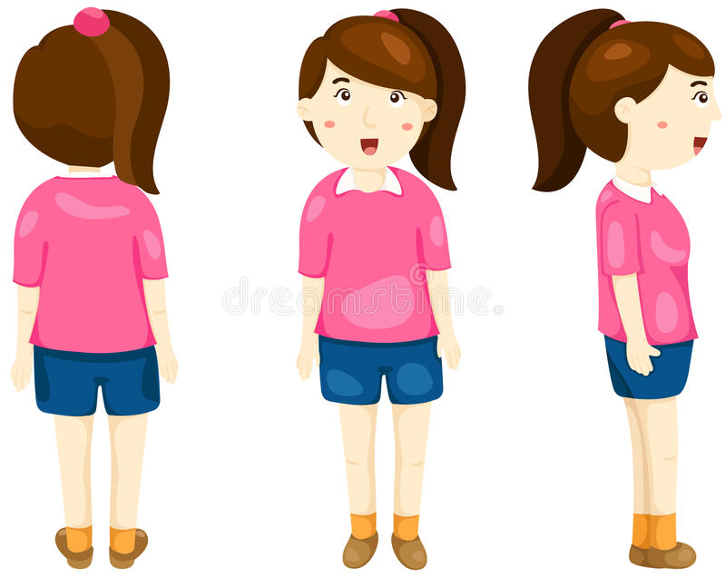 Cute girl posing back, front and side view vector illustration