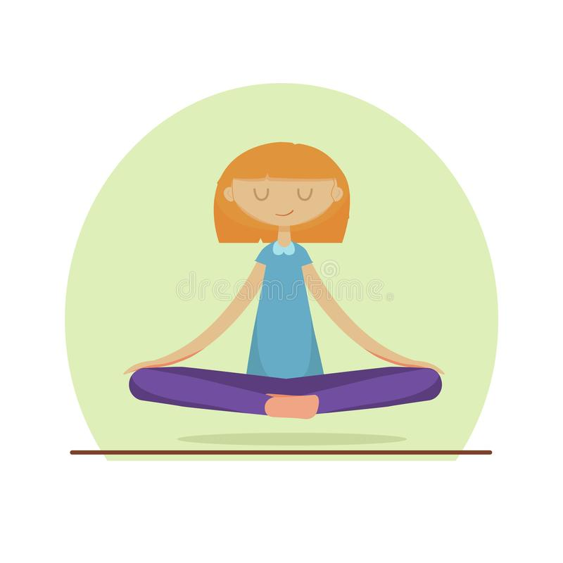 A cute Girl Practicing Yoga. stock illustration