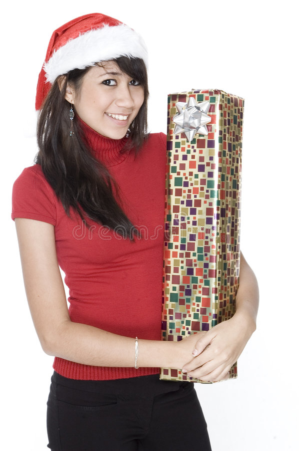 Cute Girl With Present Stock Photos
