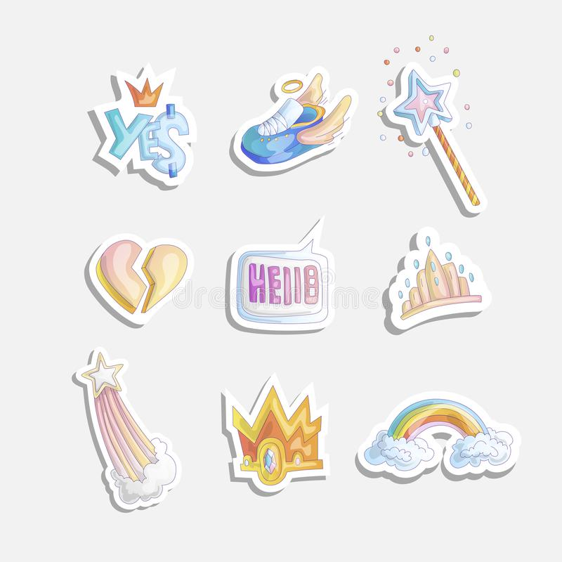 Cute girl princess icon set. Collection of cute princess stickers with sneakers, heart, tiara rainbow in clouds, magic vector illustration