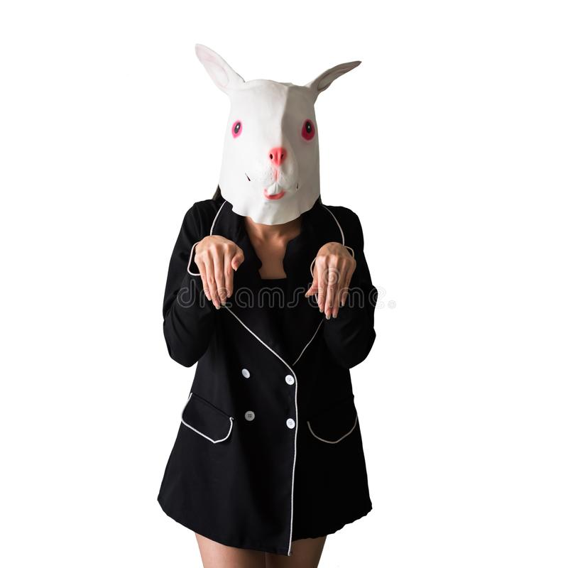 Cute Girl with rabbit mask isolated on white royalty free stock image