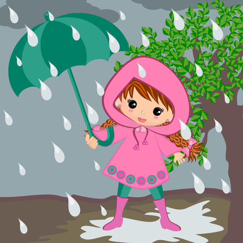 Cute Rainy Day: Cute Kids Girl On Rainy Day Stock Vector