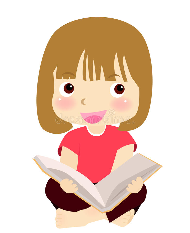 Cute Girl Reading Book Royalty Free Stock Photography