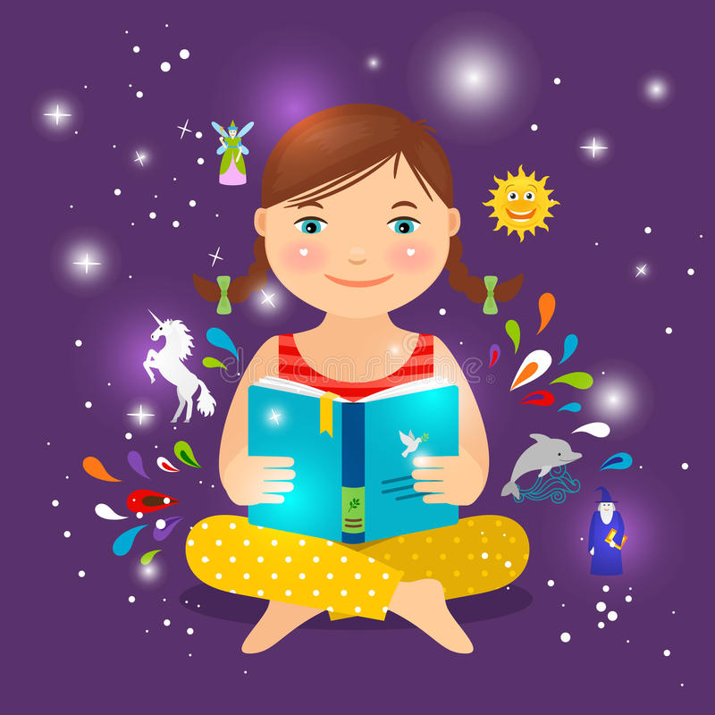 Cute girl reading book about magic stock illustration