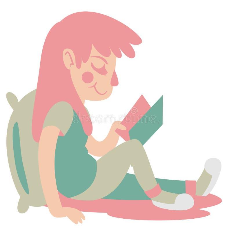 Cute Girl Reading vector illustration