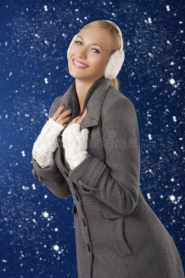 Download Cute Girl Ready For The Winter Cold Day Posing Stock Image - Image: 22091207