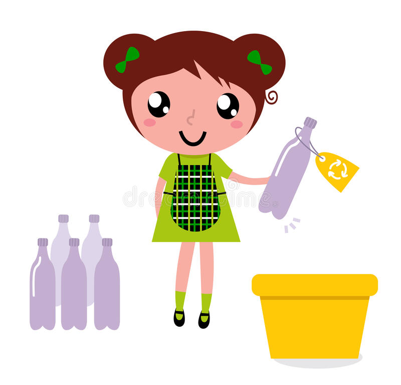 Cute girl recycle garbage into recycling bin stock illustration