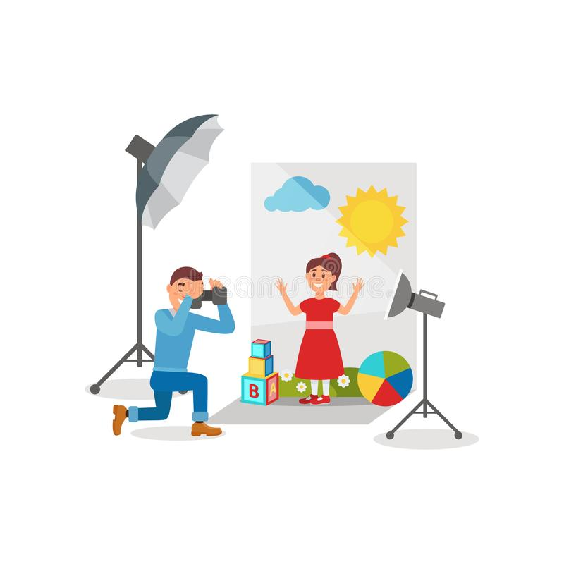 Cute girl in red dress at photo session, photographer making photos in photo studio vector Illustration. Flat style vector illustration