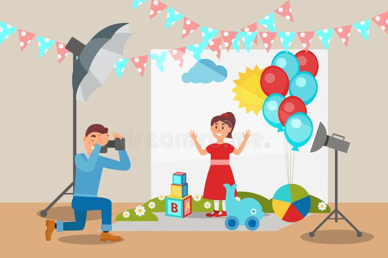 Cute girl in red dress posing at photo session, photographer making photos, photo studio interior with professional. Equipment vector Illustration, web design royalty free illustration