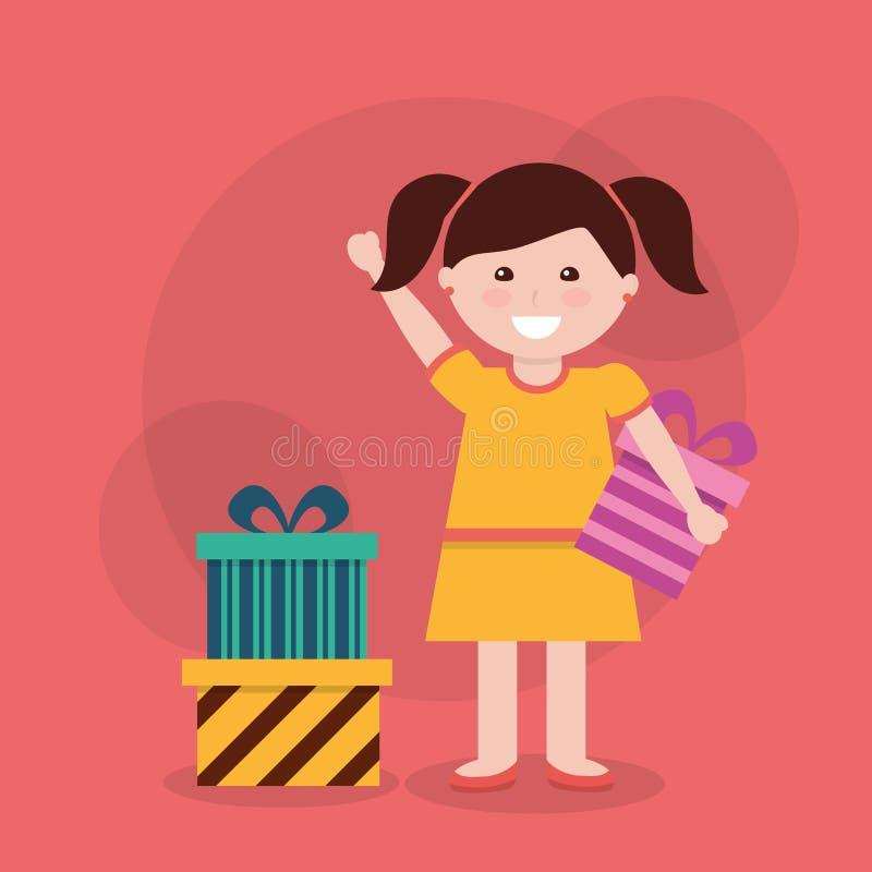 Cute girl ribbon bow wrapped gift box vector illustration stock illustration