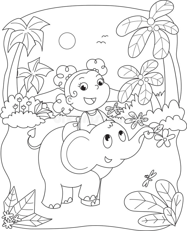 Cute girl riding an elephant royalty free illustration