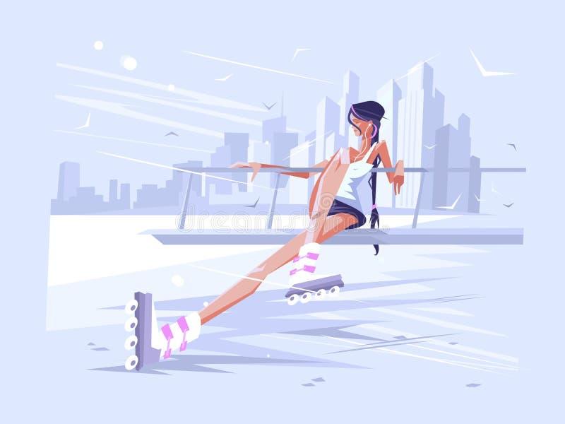 Cute girl roller stock illustration
