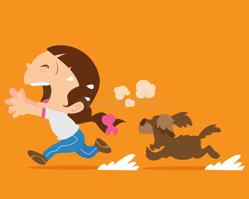 Cute girl running away from angry dog stock illustration
