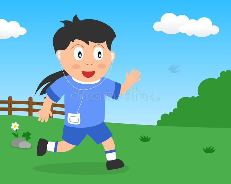 Cute Girl Running or Jogging in the Park royalty free stock images