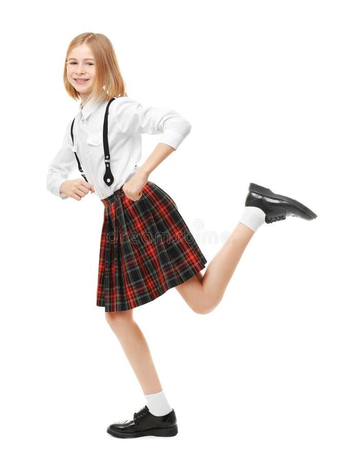 Cute girl in school uniform royalty free stock photography