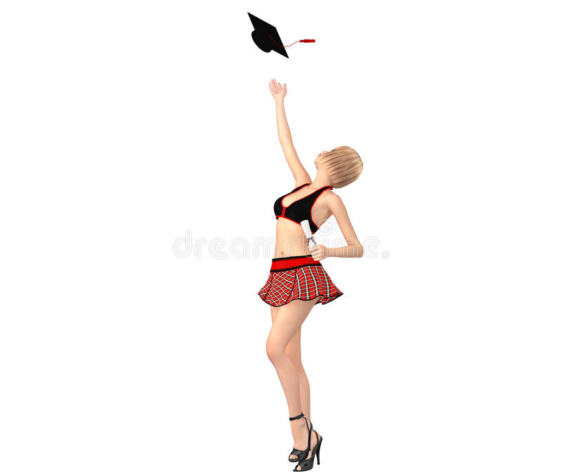 Cute girl in schoolgirl uniform with scroll on hand throws her h royalty free stock images
