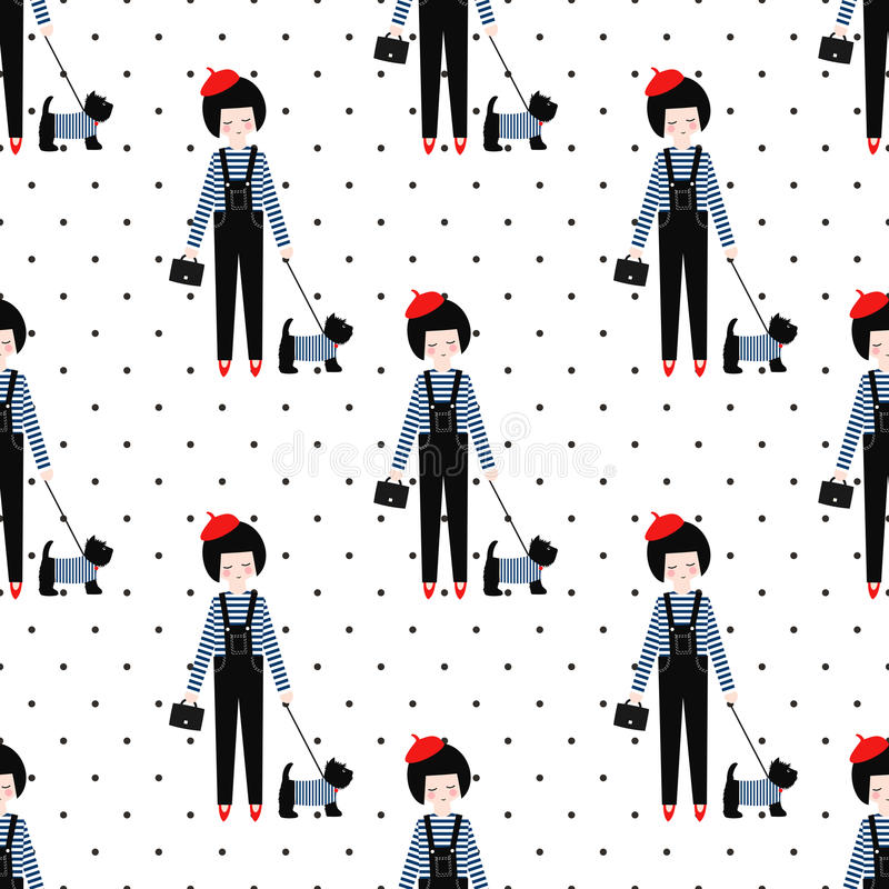 Cute girl with scottish terrier seamless pattern on polka dots background. vector illustration