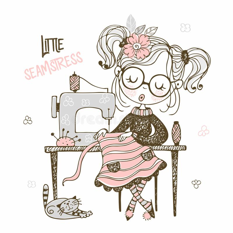Cute girl seamstress sews on a sewing machine dress. Doodle style. Vector royalty free illustration