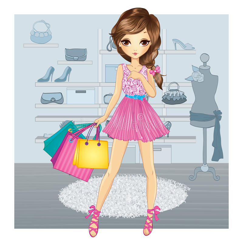 Cute Girl In Shoes Store royalty free illustration