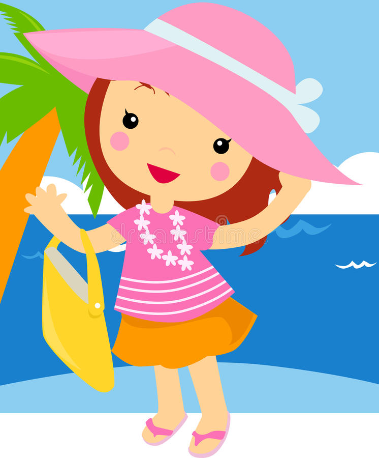 Cute girl with shopping bag on the beach vector illustration