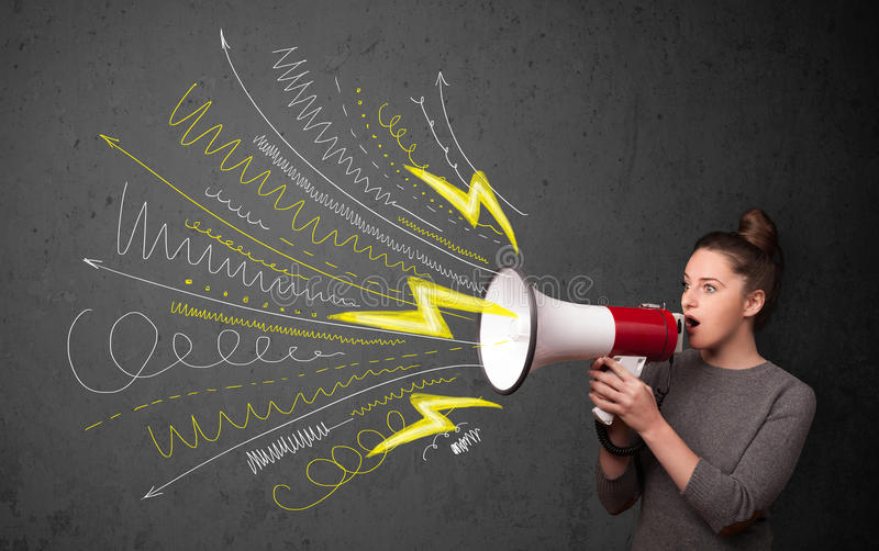 Cute girl shouting into megaphone with hand drawn lines and arrows royalty free stock image