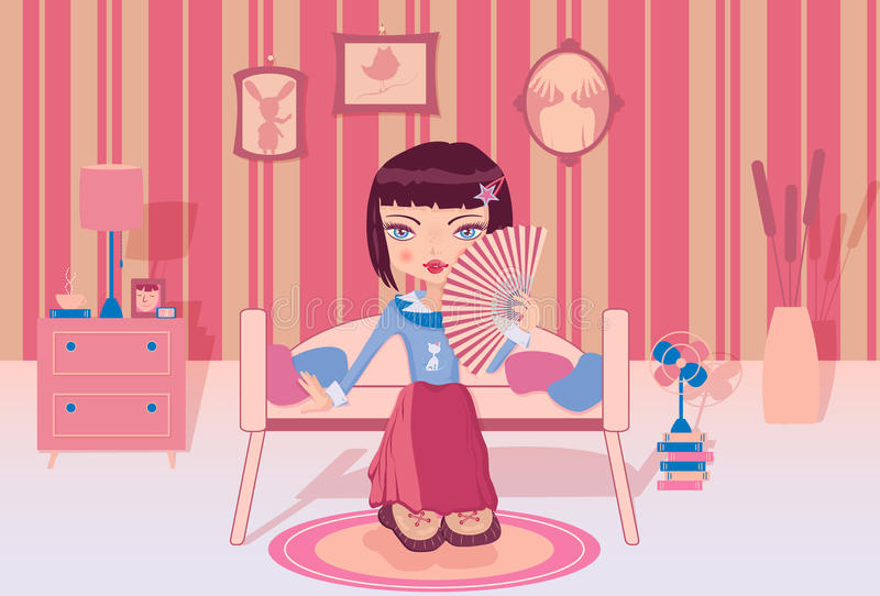 Download Cute Girl Sitting Alone In Her Room Stock Vector - Image: 39394744