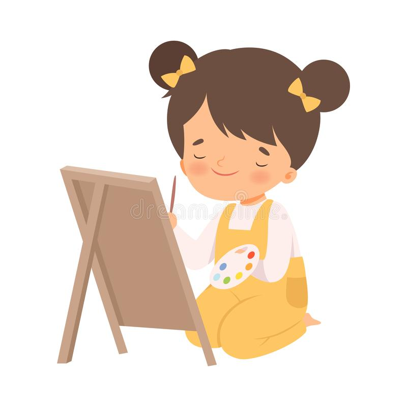 Cute Girl Sitting on the Floor and Drawing Picture on Wooden Easel, Adorable Young Artist Cartoon Character, Kids vector illustration