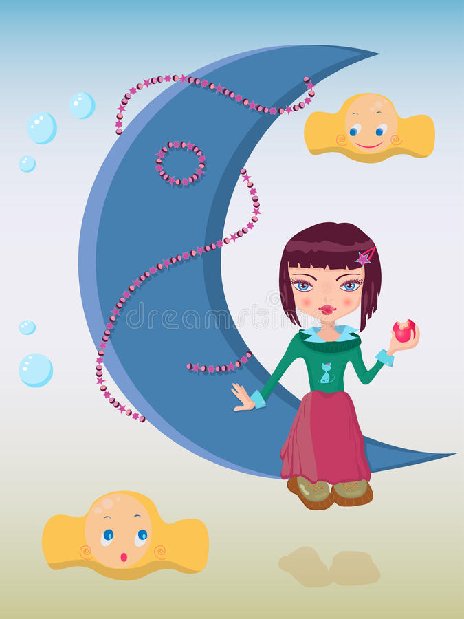 Download Cute Girl Sitting On The Moon Stock Vector - Image: 39325188