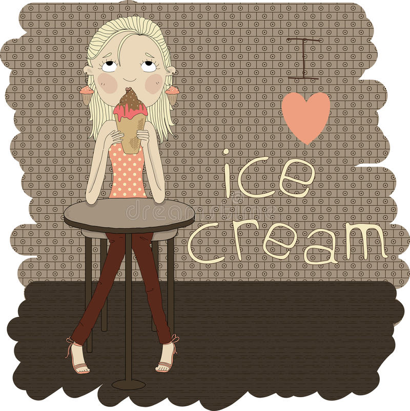 Cute girl sitting at the table eating ice cream. I. Illustration of a cartoon girl with ice cream in hand vector illustration