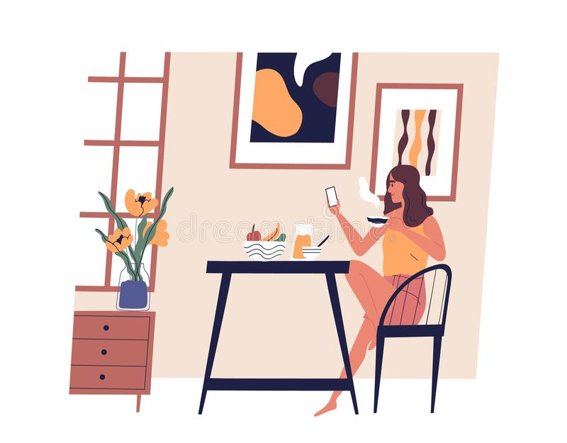Cute girl sitting at table, using smartphone and drinking coffee. Young happy woman dining at home. Funny lady having. Lunch. Daily activity, everyday life vector illustration