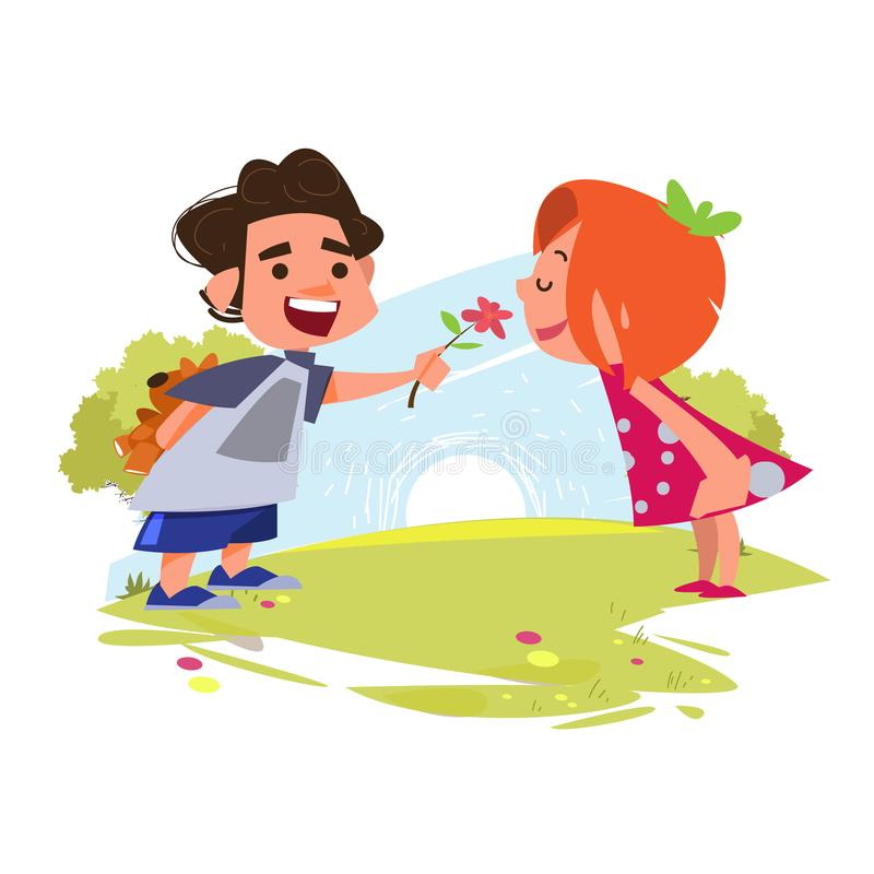 Cute girl smelling flower from boys. boy preparing to surprise g vector illustration