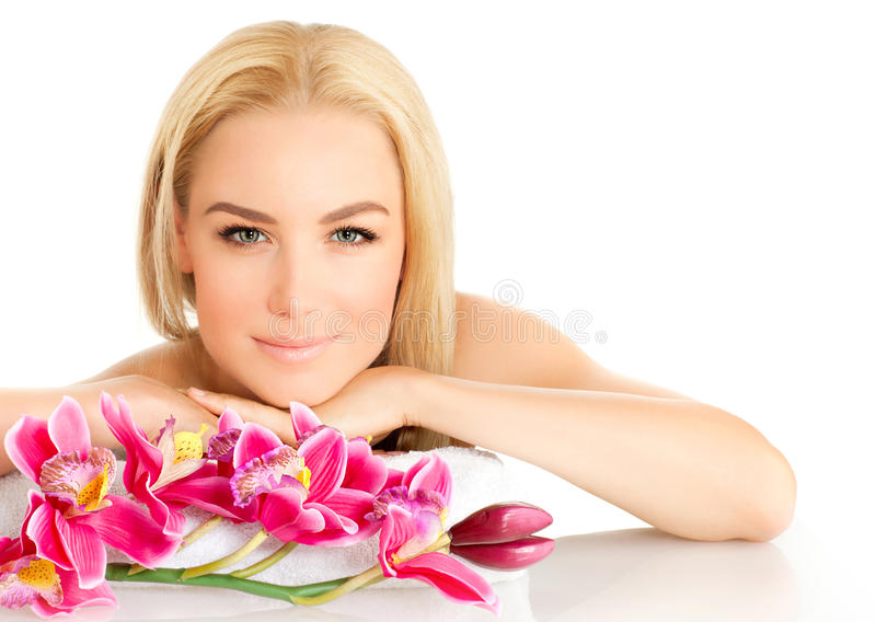 Cute girl in spa salon royalty free stock photography