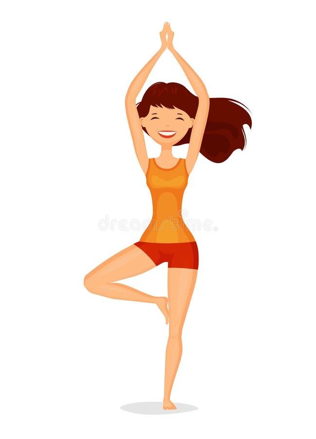Cute Girl Standing In Tree Pose Meditation Yoga Concept Cartoon Vector Illustration Stock Vector Illustration Of Healthy Aura 117949933
