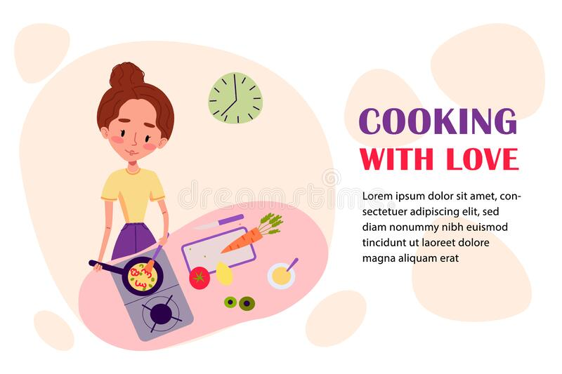 Cute girl is staying at home and cooking at her kitchen. Character design vector illustration. Cooking courses royalty free illustration