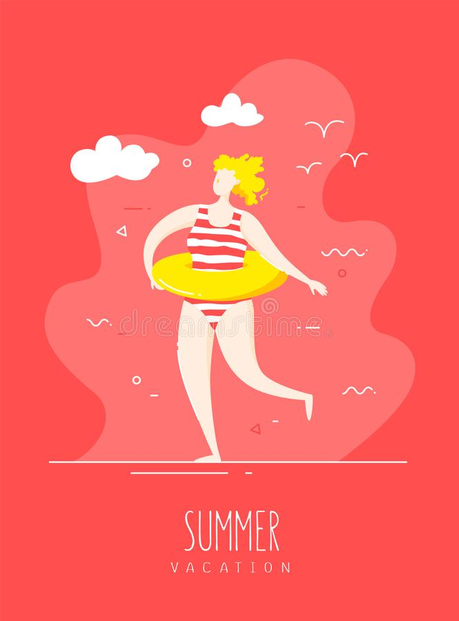 Cute girl in a striped swimsuit with a swimming circle walks on the beach. Vector card royalty free illustration
