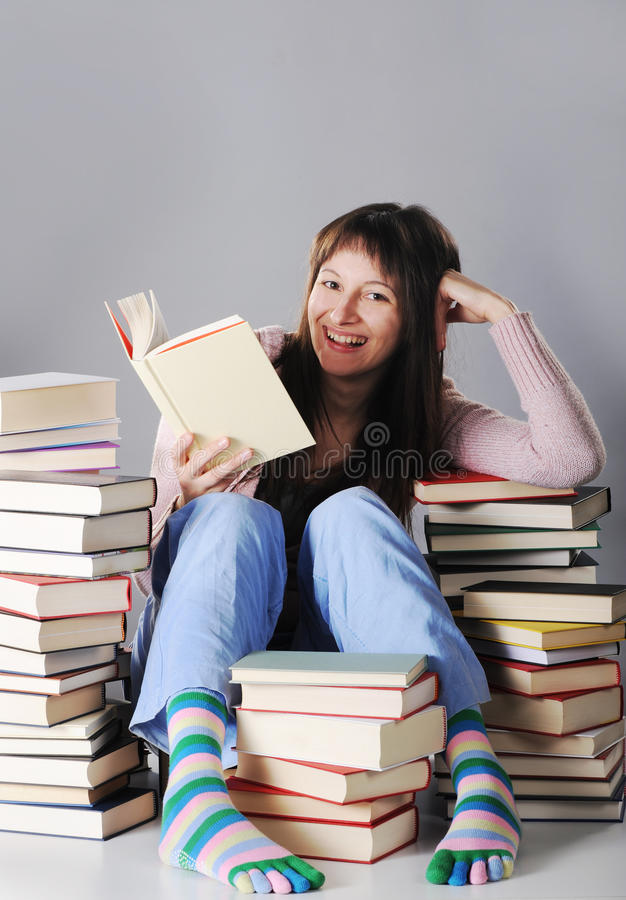 Download Cute girl studying stock photo. Image of table, school - 22784820