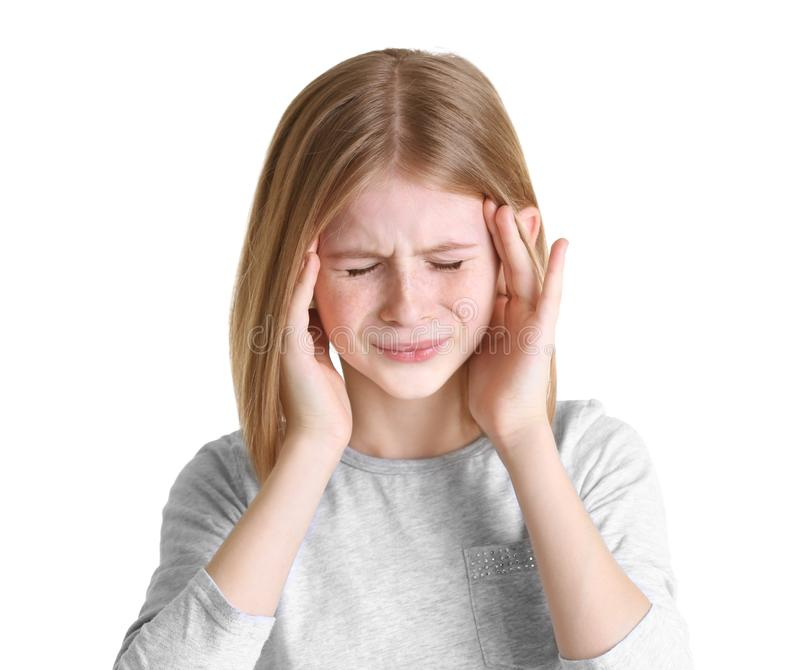 Cute girl suffering from headache. On white background stock images