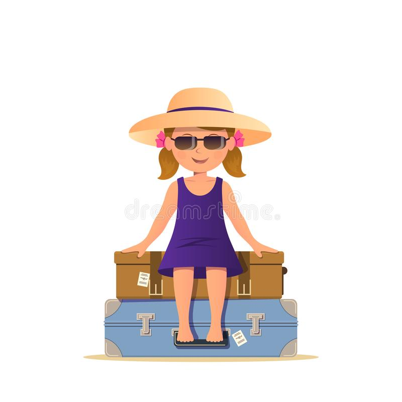 Cute girl in sunglasses sitting on the stack suitcases. Travel and vacation concept. Child with luggage stock illustration