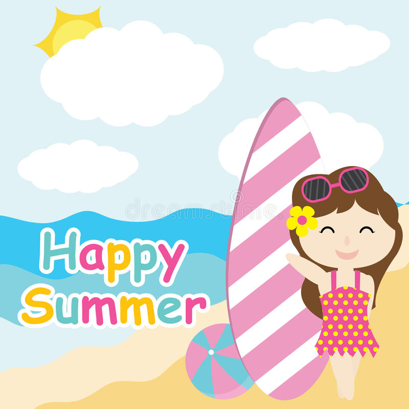 Cute girl and surfing board on the beach cartoon, Summer postcard, wallpaper, and greeting card royalty free illustration