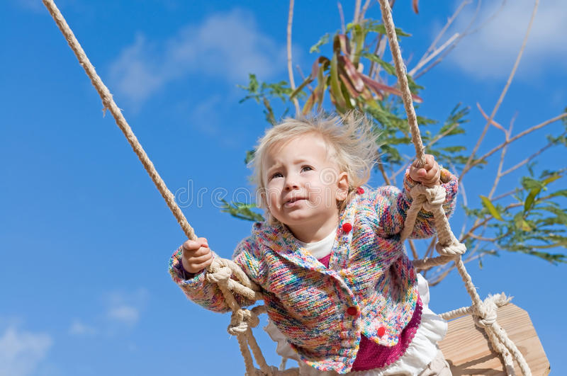 Download Cute girl swinging stock photo. Image of blue, innocence - 17629588