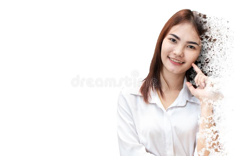 Cute girl teen aging older concept shatter dispersion stock image