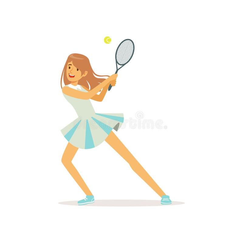 Cute girl with tennis racket and ball. Professional sportswoman playing an active sport game. Woman character in uniform. Cute girl with tennis racket and ball vector illustration
