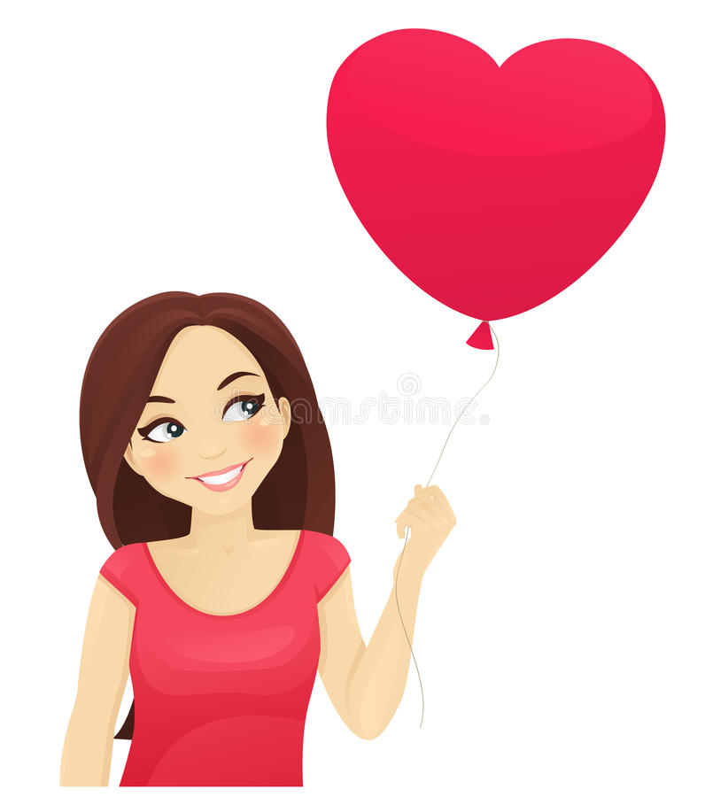 Cute girl thinking about love royalty free illustration