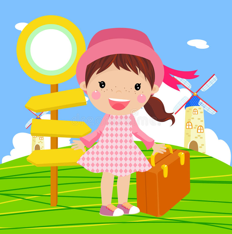 Download Cute girl to travel stock vector. Illustration of funny - 18523565