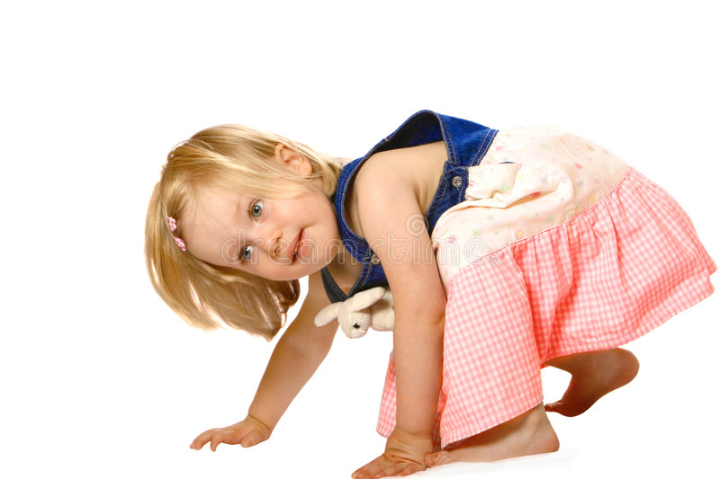 Cute girl toddler playing stock photography