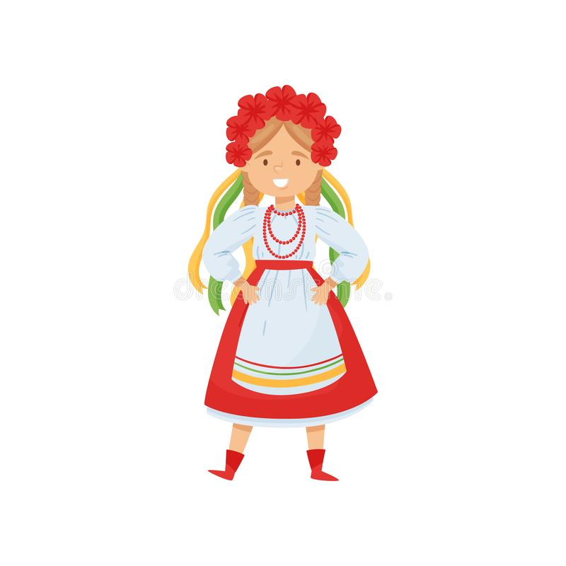 Cute girl in Ukrainian traditional clothes. Character in dress and flower wreath. National costume. Flat vector. Illustration of cute smiling girl in Ukrainian vector illustration
