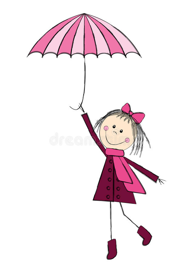 Download Cute girl with umbrella stock vector. Image of autumn - 26961302