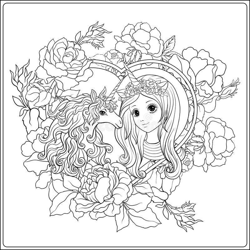 Cute girl and unicorn in roses garden. Outline drawing coloring stock illustration