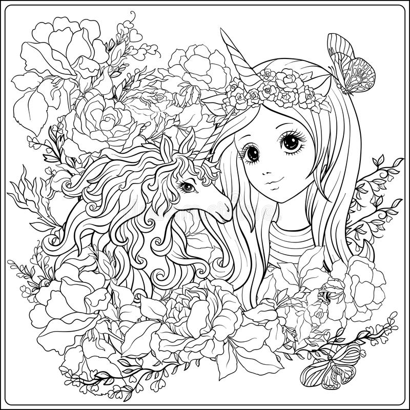 Cute Girl And Unicorn In Roses Garden. Outline Drawing ...