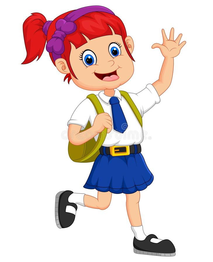 Cute girl in uniform waving hand vector illustration